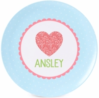 Glitter Heart Personalized Plate / Bowl