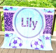Glitter Soccer Personalized Fleece Throw Blanket