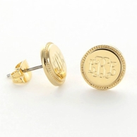 Gold Braid Edge Round Monogram Earrings