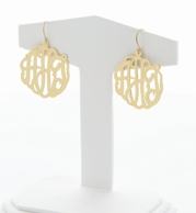 Gold Cut Monogram French Wire Earrings