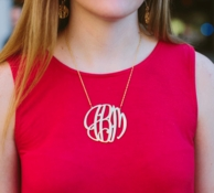 Gold Elizabeth XL Monogram Necklace