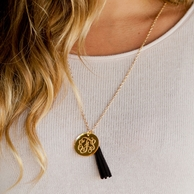 Gold Engraved Acrylic Monogram Tassel Necklace