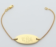 Gold Engraved Monogram Oval Chain Bracelet
