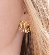 Gold Filigree Monogram Medium Earrings