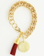 Gold Monogram Tassel Bracelet - CHOOSE YOUR TASSEL COLOR