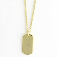 Gold Monogrammed Rectangle ID Tag Necklace