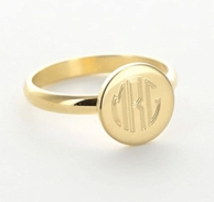 Gold Monogrammed Smooth Round Ring