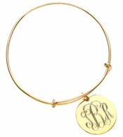 Gold Plated Round Charm Bangle Bracelet