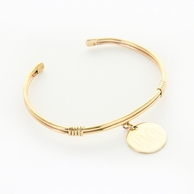 Gold-toned Round Monogram Charm and Cuff Bracelet