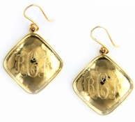 Goldtone Diamond Hammered Earrings on French wires