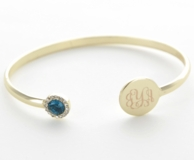 Goldtone Monogrammed Birthstone Bangle Bracelet