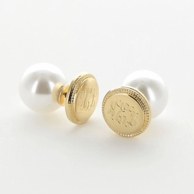 Goldtone Rope Border 360 Monogrammed Stud Earrings