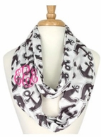 Gray Anchors Monogrammed Infinity Scarf