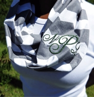 Gray Chevron Monogrammed Lightweight Infinity Scarf