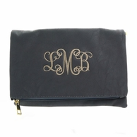 Gray Luxe Monogrammed Foldover Clutch
