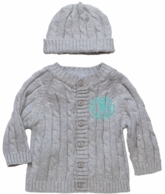 Gray Monogrammed Cable Knit Baby Sweater & Hat Set