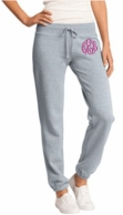 Gray Monogrammed Ladies Fleece Sweat Pants