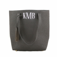 Gray Monogrammed Luxe Tassel Tall Tote