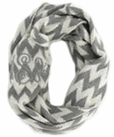 Gray White Chevron KNIT Monogrammed Winter Infinity Scarf