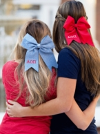 Greek Sorority Embroidered Hair Bow