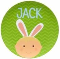 Green Boys Bunny Ears Easter Personalized Plate