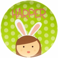 Green Bunny Ears Girls Personalized Easter Plate