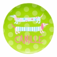 Green Dachshunds Personalized Kids Plate