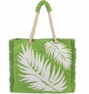 Green Fern Fringe Rope Handle Beach Tote