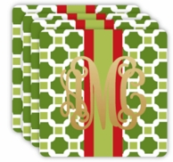Green Geometric Metallic Monogram Holiday Coasters - SET OF 4