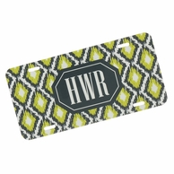 Green & Gray Ikat Monogrammed Car Tag