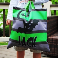 Green & Gray Stripe Personalized Bat Halloween Tote
