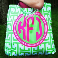 Green Greek Key Personalized Oversized Yoga Tote
