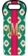 Green Ikat Metallic Monogram Holiday Wine Tote