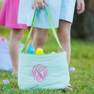 Green Monogrammed Easter Bucket Tote