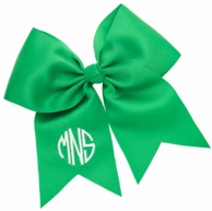 Green Monogrammed Hair Bow