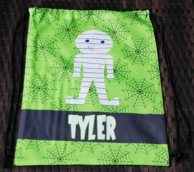 Green Mummy Personalized Halloween Drawstring Backpack