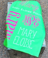 Green Personalized Minky Baby Blanket