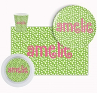 Green & Pink Mini Hearts Personalized Tableware Set