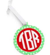Green Polka Round Monogrammed Christmas Ornament
