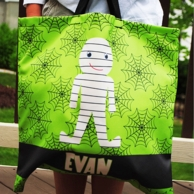 Green Spiderweb Mummy Personalized Halloween Treat Tote