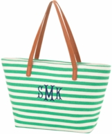 Green Stripe Monogrammed Charlotte Purse