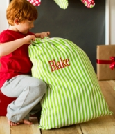 Green Stripe Personalized Santa Sack
