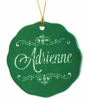 Green Vintage Name Personalized Holiday Ornament