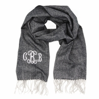 Grey and Black Herringbone Cashmere Soft Monogrammed Scarf