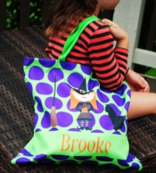 Halloween Witch & Cat Personalized Candy Tote