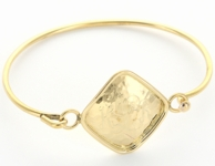 Hammered Diamond Goldtone Monogram Bangle Bracelet