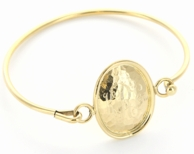 Hammered Oval Monogram Goldtone Bangle Bracelet