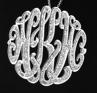 Hand Cut Designer Monogram Necklace with Diamonds or CZ's