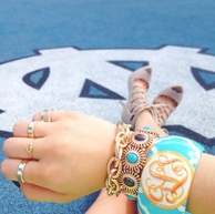 Handpainted Monogrammed Wood Geometric Bangle