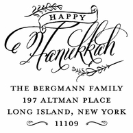 Happy Hannukkah Personalized Address Stamper